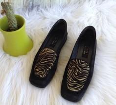 Stuart Weitzman Black Suede Low Heel Slip On Loafer Shoes Tiger Animal P... - $44.54