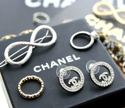 Authentic Chanel CHANEL 2017 Large Crystal CC Logo Circle Earrings -Gorgeous! image 3