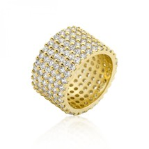 Goldtone Finishd Wide Pave Cubic Zirconia Ring (size: 06) R08322G-C01-06 - $55.00