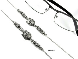 Wolf Eyeglasses Chain Necklace Steel Byzantine Chainmail Handcrafted Lin... - $29.00+