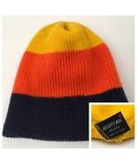 Vintage Toque Mighty Mac Knit Cap Warm Retro Color Block Yellow Orange B... - $35.59