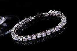 Excellent Cut Swarovski Diamond Tennis Bracelet Solid 14k Gold Anniversa... - $1,149.99