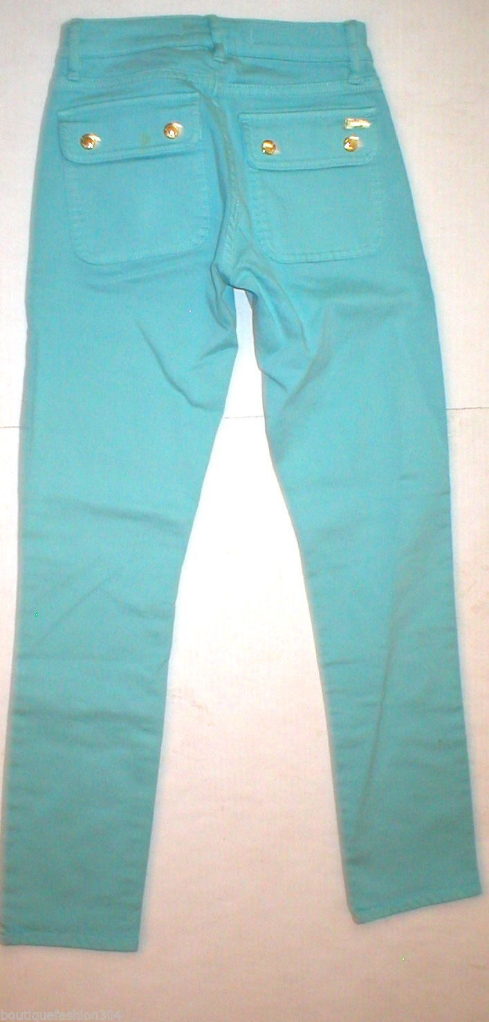New Logo Crop Jeans Juicy Couture 25 Womens Snap Pockets Aqua Blue Teal Skinny