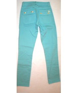 New Logo Crop Jeans Juicy Couture 25 Womens Snap Pockets Aqua Blue Teal ... - $99.20
