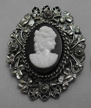 Vintage Styled Silver Toned Black Cameo Plastic Brooch Pin  - $24.75
