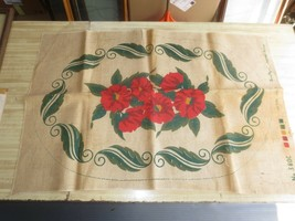 "SANITIZED Supreme FLORAL DESIGN Burlap Cloth #380C for HOOKED RUG - 24"" ... - $19.80"