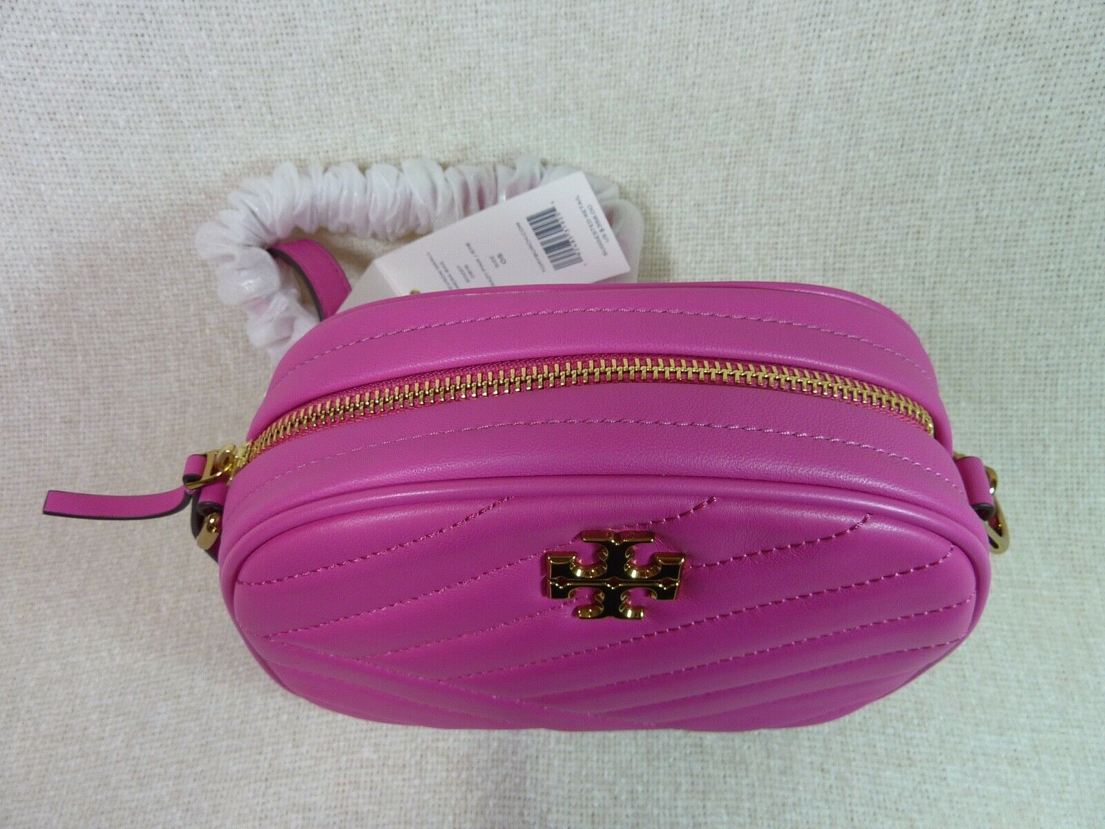 NWT Tory Burch Crazy Pink Kira Chevron Small Camera Bag $358 image 5