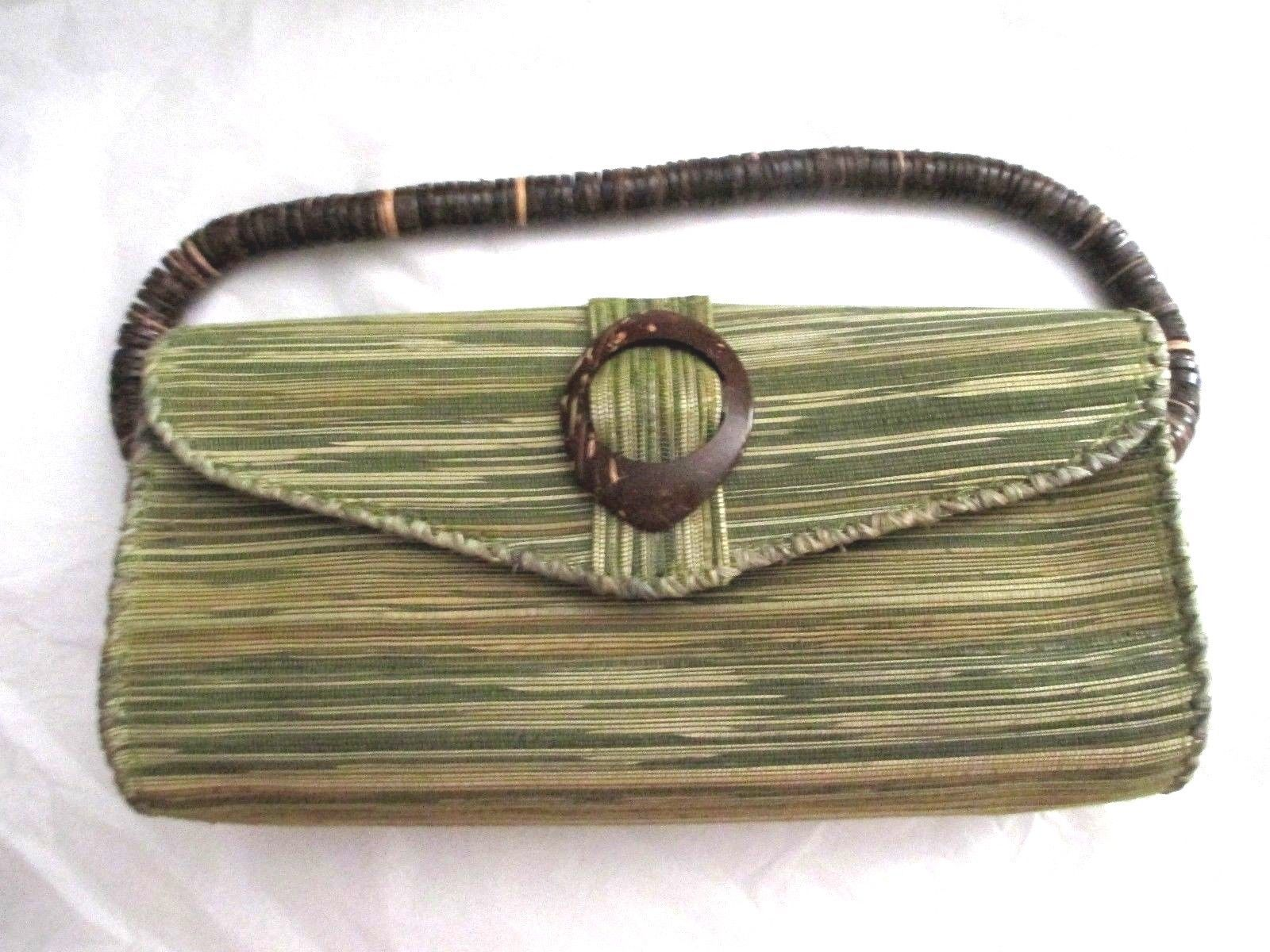 31bcc6519ae1 Woven Reed Coconut Shell Green Brown Clutch and 50 similar items