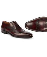 MEN'S HANDMADE BURGUNDY WINGTIP DRESS LEATHER SHOES, MEN PARTY SHOES - $159.97