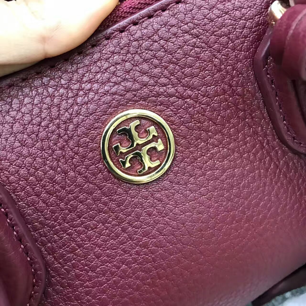 Tory Burch Robinson Pebbled Square Leather Tote