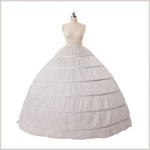 White Ball Gown Crinoline 6 Hoops Under Skirt 1 Layer Wedding Dress Petticoat