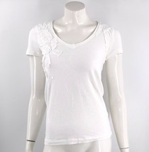 J Crew Top Size XS White Embellished Fitted Tee Shirt V Neck Cotton Womens - $11.09