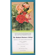 INK BLOTTER 1950s - Bouquet of Roses + AD Hubbard Business College St. L... - $4.49