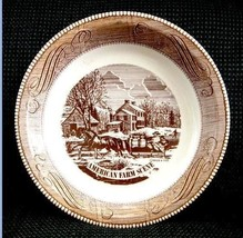 vintage CURRIER & IVES PIE PLATE brown AMERICAN FARM SCENE royal china - $14.95