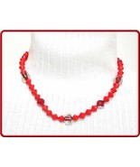 Elegant Vintage Red Faceted & Art Glass Bead Necklace by Judy Strobel - $24.95