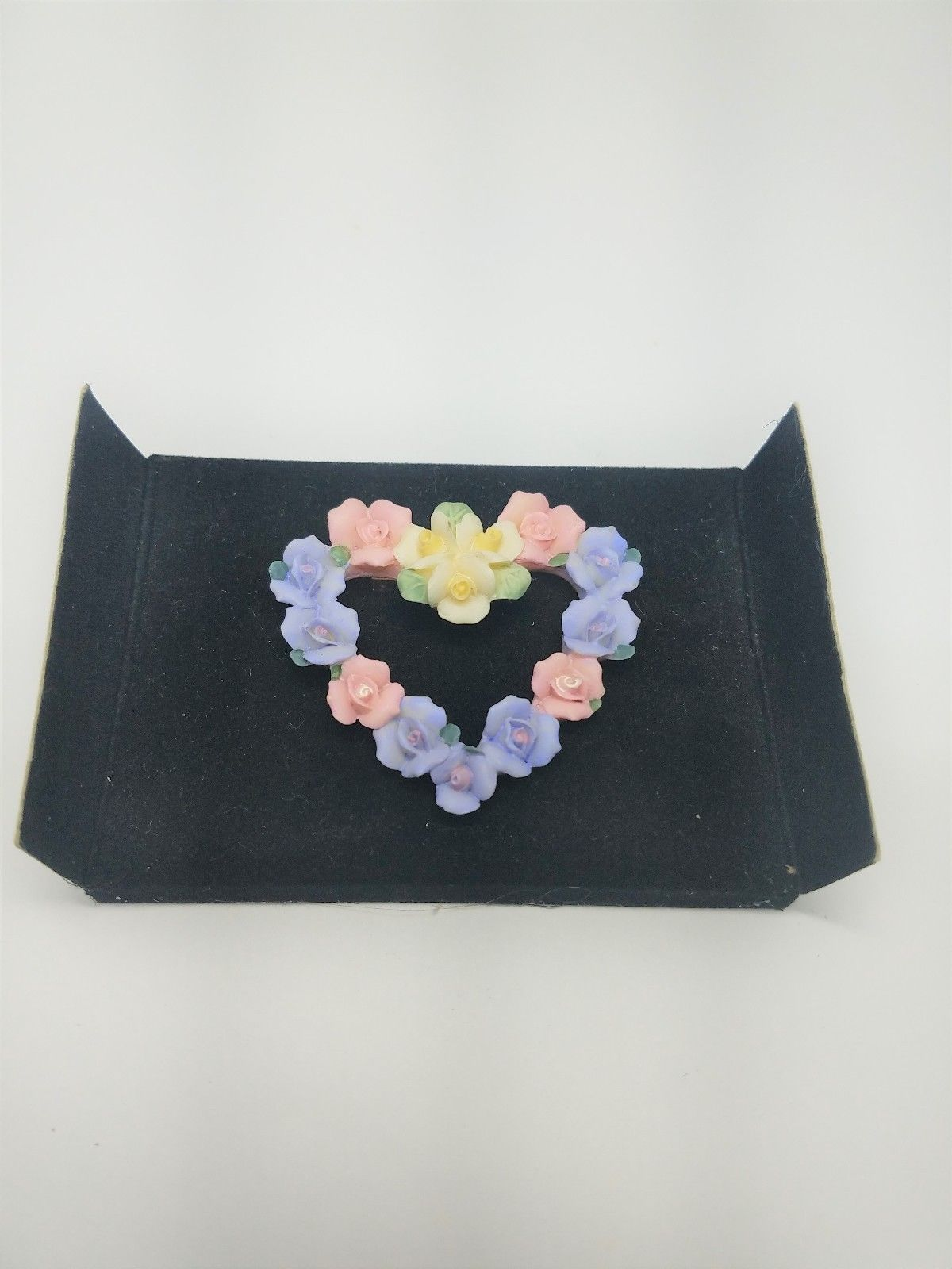 Lovely Avon Hearts and Flowers Vintage Pin Blue Pink Yellow Active image 2