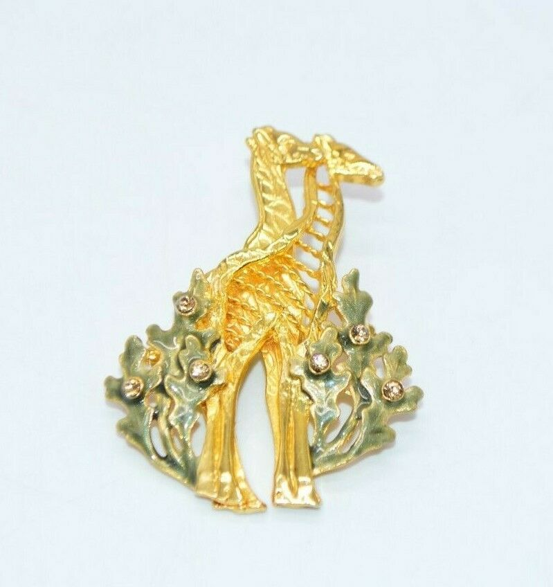 Primary image for KC Kenneth Cole Topaz Rhinestone Green Enamel Giraffe Brooch Pin Vintage