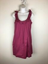 Ann Taylor LOFT Shift Dress 2 XS Pink Purple Ruffle Neck Sleeveless Mini... - $24.74