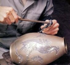 Flower Vase Takaoka Bronze Handcraft Suiban Sunabachi Lotus motif Stuck ... - $1,565.50