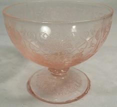 Hazel Atlas Florentine Poppy #1 Pink Depression Glass Footed Sorbet Dish - $13.95