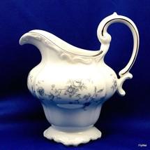 Johann Haviland Blue Garland Sculpted Creamer White Blue Platinum Trim 1... - $16.83