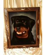 Vintage David Ortiz Velvet Rottweiler Painting Mexico Rare Carved Wood F... - $98.01