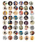 "vintage mardi gras masks clipart digital download 1"" circles collage she... - $3.99"