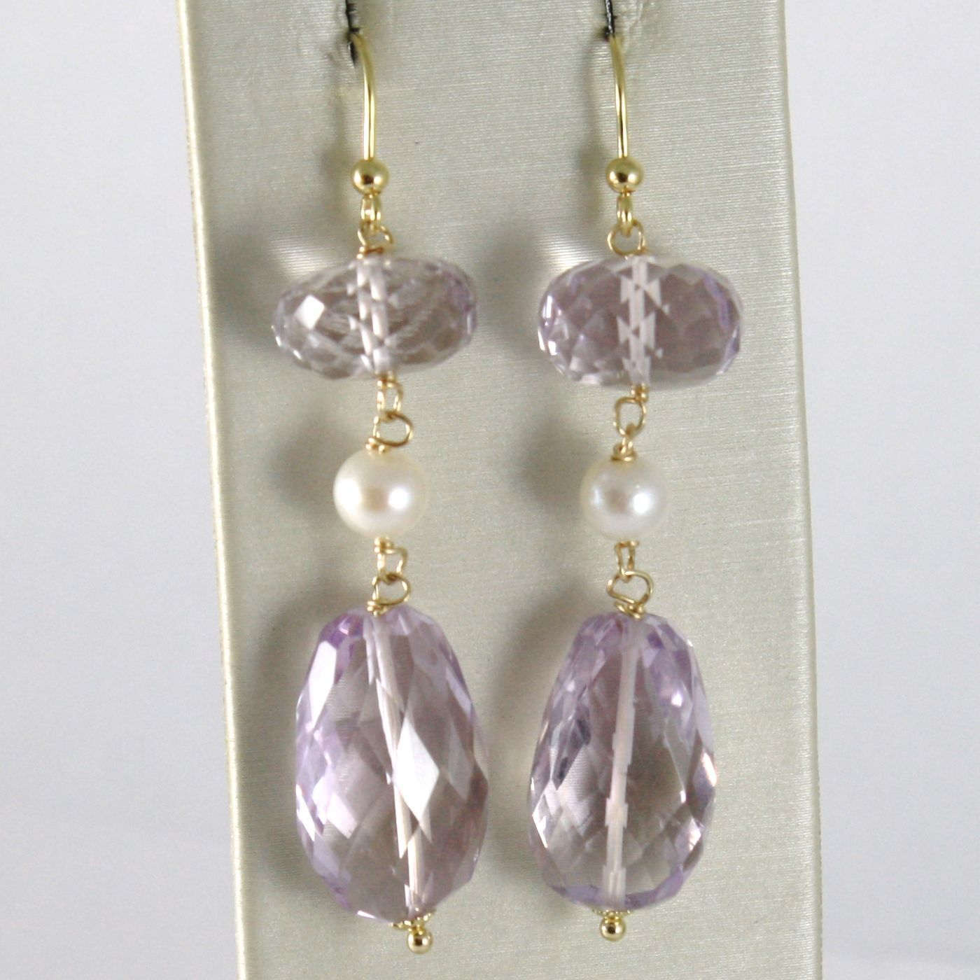 YELLOW GOLD EARRINGS 750 18K HANGING 5 CM, AMETHYST CUT CUSHION AND PEARLS