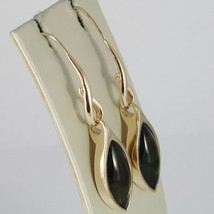 925 STERLING YELLOW SILVER PENDANT EARRINGS WITH BIG CABOCHON GREEN CRYSTAL OVAL image 2