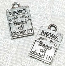 XTRA XTRA BEAD ALL ABOUT IT NEWSPAPER FINE PEWTER PENDANT CHARM - 11x17x1mm