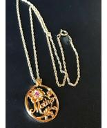 Estate Silvertone Twist Chain w Avon Signed Oval MOTHER & Purple Rhinestone Flow - $13.09