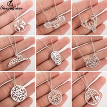 Shuangshuo Stainless Steel World Map Necklaces Pendants for Women Fashio... - $9.61