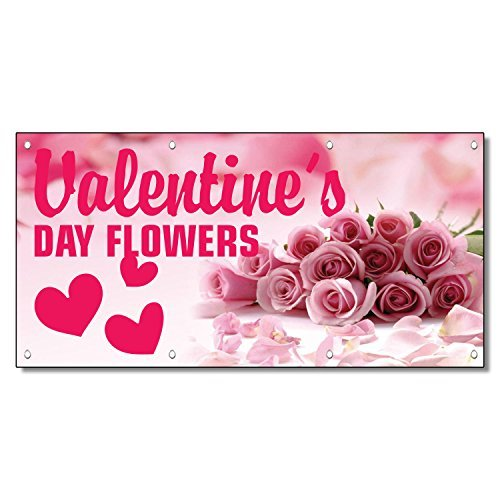 Valentine'S Day Flowers Business 13 Oz Vinyl Banner Sign With Grommets 3 Ft X 6