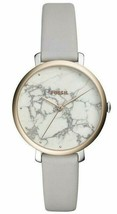 Fossil Jacqueline White Marble Rose Gold Leather Band Women's Watch ES43... - $69.99