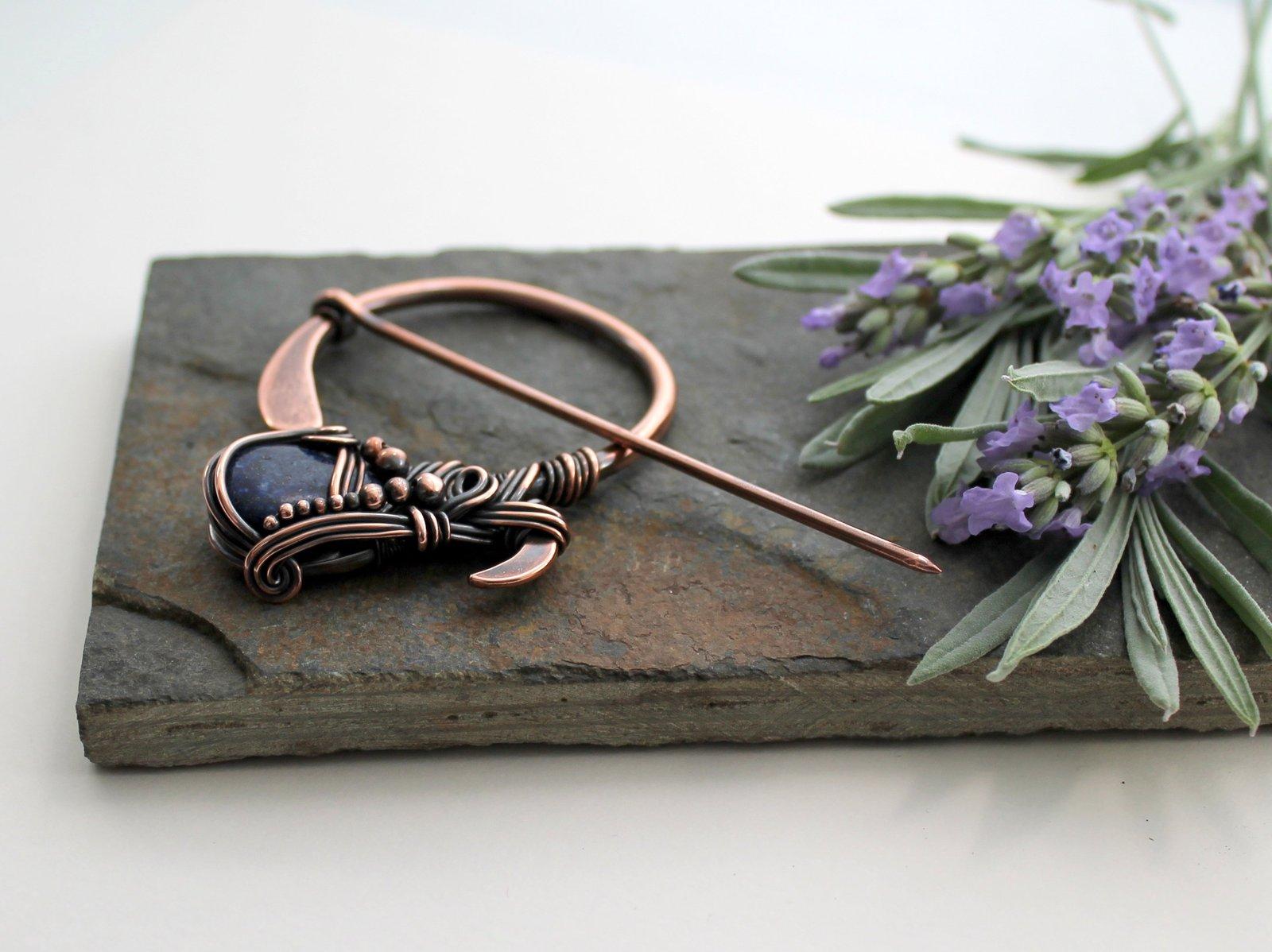Penannular Brooch - Copper and Lapis Lazuli - Celtic fibula