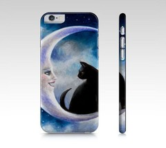 Cell Phone Case for Iphone Samsung black Cat 580 moon art painting L.Dumas - $28.99