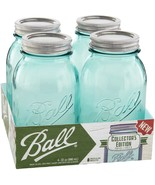 Ball(R) Regular Mouth Canning Jars 2/Pkg-Quart Vintage Aqua, 32oz - £20.48 GBP