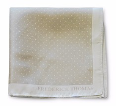 Frederick Thomas 100% silk beige & pin spotted pocket square handkerchief FT3354