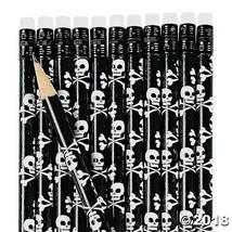 24 PIRATE Halloween Party Favors SKULL CROSSBONES Jolly Roger Wooden Pen... - $7.95