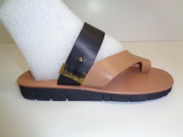 Calvin Klein Size 6.5 M PAX COW SILK Gold Black Leather Sandals New Wome... - $98.01