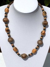 Chunky Ceramic Beads Necklace; Indian Jewellery, Handmade, Ceramic Necklace - $10.55