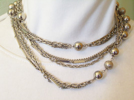 LONG Silver Plated 3 Strand CHAINS Necklace Curb Cable Bar Ball Mixed Vi... - $14.84