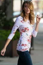 Ivory Rose Floral Blouse, Ruched Floral Top, Womens Three Quarter Sleeve Shirt