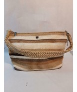 Luna Crocheted Short Handled Purse Striped Floral Lined Earth Tones Spring - $14.25