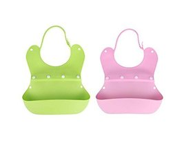 Cute Waterproof Comfy Baby Bib/Pinafore For Baby(Green+Pink)