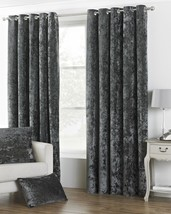 DEEP PILE CRUSHED VELVET PEWTER GREY LINED RING TOP CURTAINS *8 SIZES* - $47.64+