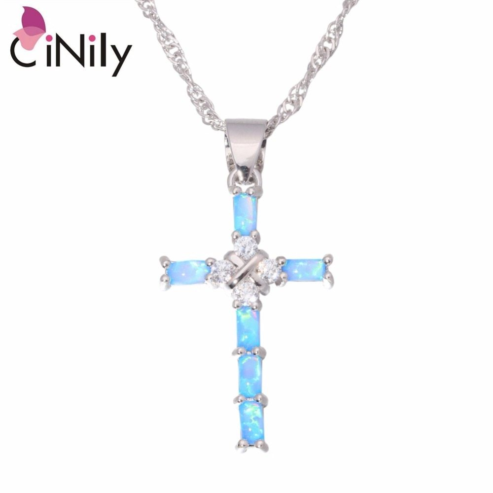 White & Blue Cross Opal Pendant & Necklace Silver Plated Gem Crucifix Charm With