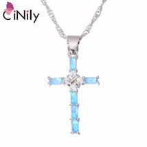 White & Blue Cross Opal Pendant & Necklace Silver Plated Gem Crucifix Charm With - $16.37