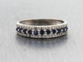 Elegant Ladies 14k White Gold Blue Sapphire & Diamond Ring - £195.48 GBP