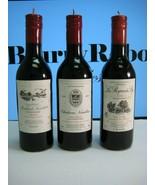 Wine bottle candles (3) Bordeaux - molded wax, paper labels - $10.80